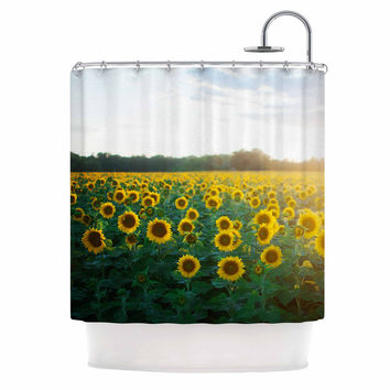 "Chelsea Victoria ""Sunflower Fields"" Floral Photography Shower Curtain"