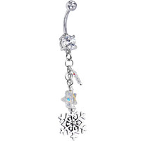 Handcrafted Holiday Snowflake Belly Ring | Body Candy Body Jewelry