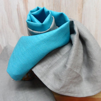 SALE!  TWO Kitchen Towels. Hand Towels. Linen Kitchen Towels. 100% Flax Linen Turquoise towel