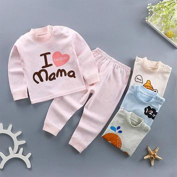 Free shipping 2018 Autumn kids newborn clothes girl baby boy long sleeve organic cotton cartoon casual clothing children suits