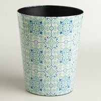 Turquoise Tile Trash Can