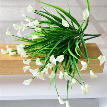 25 Heads/bouquet Mini Artificial Calla Leaf Silk Fake Flower Lily Plastic Aquatic Plants Home Decoration