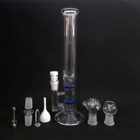 Two Function 12 inches Glass Bongs Double HoneyComb Filter Oil Rigs 18.8mm joint with Titanium Nail Ceramic Nail Carb Cap
