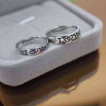 "Personal letter "" I LOVE YOU "" couple adjustable 925 sterling silver ring ALQ"