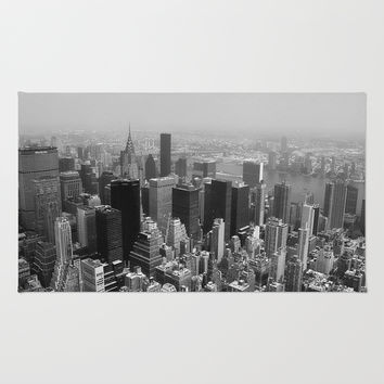 New York City Black and White Rug by Forand Photography