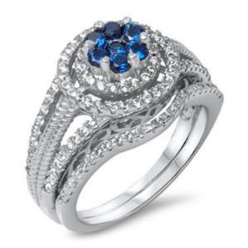 Halo Blue Sapphire Flower Set .925 Sterling Silver Ring