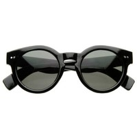 zeroUV - Vintage Inspired Bold Circle Round Sunglasses w/ Key-Hole Bridge (Black-Solid)