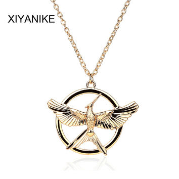 2015 New Hungry Game Big Retro Punk Style Hunger Games Necklace Laugh Birds Parrot Birds Long Necklace Free Shipping XY-N380