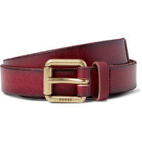 Gucci - 2.5cm Claret Embellished Distressed Leather Belt