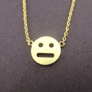 Expressionless Smiley Meh Indifferent Face Emoji Pendant Necklace