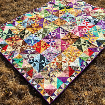 Pinwheel Quilt - Scrappy Quilt - Lap or Twin Bed Quilt - Quiltsy Handmade