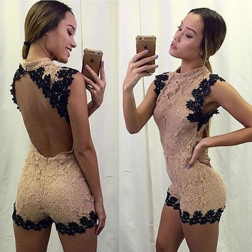 Lace Backless Short Sexy Sleeveless Jumpsuits = 1946618116