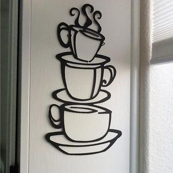 2017 DIY Kitchen Decor Coffee House Cup Decals Vinyl  Wall Sticker Removable  426