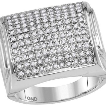 10kt White Gold Womens Round Pave-set Diamond Domed Cluster Ring 1.00 Cttw