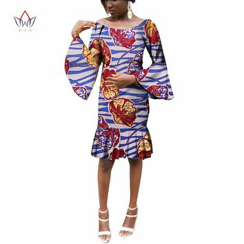 African Women Clothing Mini Mermaid Party Dresses African Bazin Riche Plus Size Women Fashions Dresses Clothing BRW WY2092