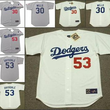Men grey 30 MAURY WILLS 53 DON DRYSDALE Los Angeles Dodgers 1969 throwback Away Baseball Jersey stitched