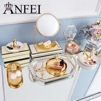 ANFEI New Luxury Gold Makeup Organizer Series Exquisite Small You Can Also Put Cake Dessert Enjoy Your Life