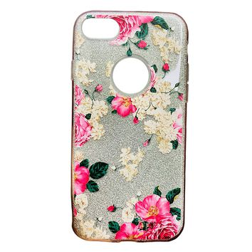iPhone 6/6s/7/8 Case Pink Floral Print Glitter Sparkle Bling Wireless Charging Support High Shock Protection Apple Case Cover Pink Floral