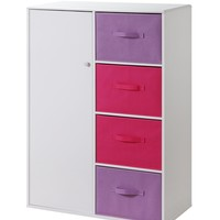 Colorful Girl's Bedroom Storage Armoire/Closet with Bins