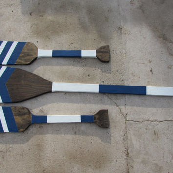 Navy and White Chevron Oar Set. 3 Piece Oar Set. Nautical Wall Art. Wood Oar Wall Hangings. Made To Order
