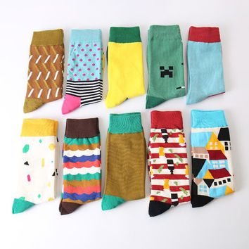 Colour men crew cotton happy socks british style argyle dot striped pattern harajuku designer brand fashion novelty art funny