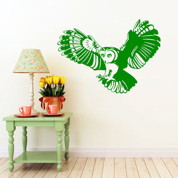 Barn Owl Wall Decal Barn Owl Bird Decals Wall Vinyl Sticker Interior Home Decor Family Art Wall Decor Bedroom Bathroom Mural SV5999