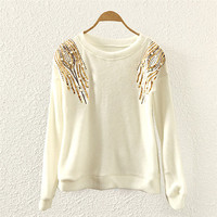 White Sequin Embroider Sweater