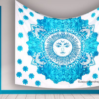 Indian Throw Bedspread Hippie Sun Moon Wall Tapestry Psychedelic Hanging Decor