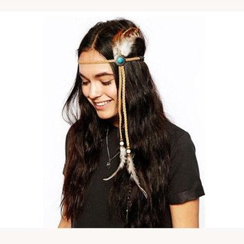 PEAPUG3 Turquoise Handmade Feather Headband, Bohemian, headband, Native, American, braided headband, Indian,hippie headband, hipster, freespirit = 1928607620