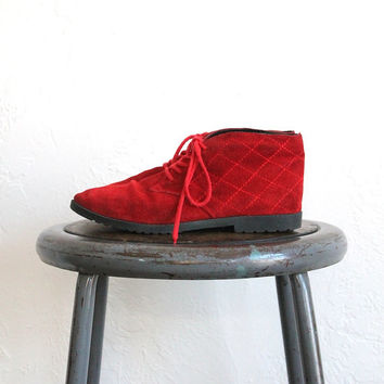 Vintage 80s Red Suede Quilted Booties // Women's Lace Up Leather Boots Sz 7