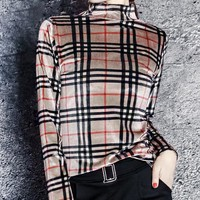Burberry New fashion plaid long sleeve and short sleeve top t-shirt