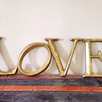 LOVE Gold Wooden Letters / Gold Love Sign Distressed Letters / Rustic Wedding Decor