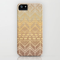 Neutral Tan & Gold Tribal Ikat Pattern iPhone & iPod Case by Micklyn