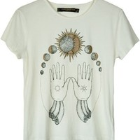 Something Else White Cosmic Hands Tee
