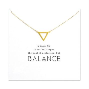 Gold Plated Triangle Harmony Pendant Necklace Dainty Gold