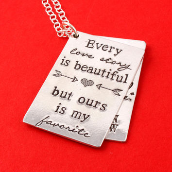 Love Story Necklace - Custom Coordinates Necklace - Anniversary Gift - Wedding Present - Gift For Bride - Custom Date - Personalized Text