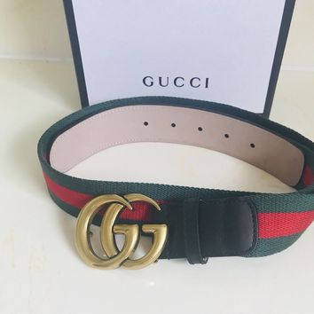 """Gucci Belt Black Leather/Web Double G Buckle Size 29-31""""inches"""