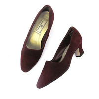 suede heels / maroon leather pumps / kitten heels / women's shoes size 7