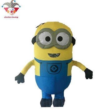 Halloween Small Yellow People Despicable Me Minions Inflatable Costumes Air Blown One Eye Clothes Cosplay Party Toys