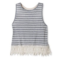 Xhilaration® Junior's Lace Trim Tank - Gray