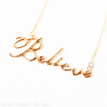 VALENTINES DAY SALE Believe handwriting 10k gold plated necklace