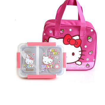 Hello Kitty Pokonyan Cartoon Kids Student Lunch Box 304 Stainless Steel Picnic Bento Box Thermal Portable Food Container Plastic