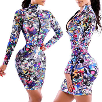 Blue Cartoon Pattern Print Long Sleeve Zip-Up Turtleneck Bodycon Dress