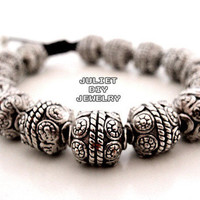 Antique silver Karma beads bracelet from Urban Zen Jewelry Boutique