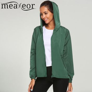 Meaneor 2017 New Autumn Women Jacket Lightweight Rain Coat