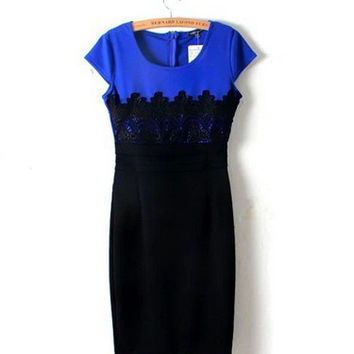 QZ1076 New Fashion Ladies' Elegant Embroidery lace sheath Dress vintage O neck short sleeve slim look dress brand design