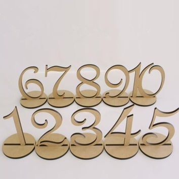 10pcs/set Fashion Wooden Wedding Party Supplies 1-10 or 11-20 Place Holder Table Number Card