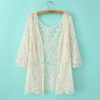 Floral Lace Mesh See Through Sleeve Cardigan
