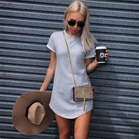 Gray Contrast Short Sleeve Mini Dress