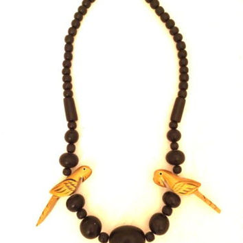 Gold Macaw Parakeet Parrot Wooden Carved Birds Black Necklace Handmade Jewelry